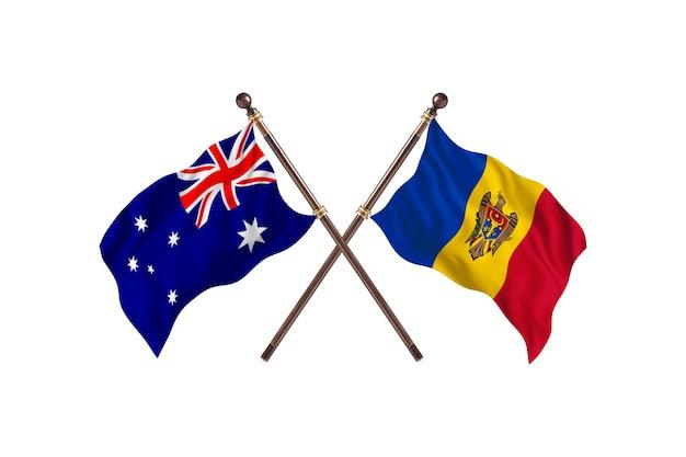 Tło flagi australii kontra mołdawii