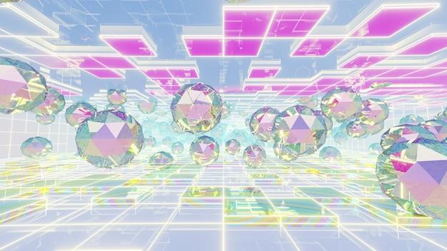 Tło geometrii holograficznej w scenie retro i holograficznej.