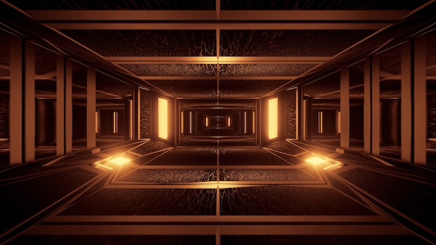 Tło geometrycznych kształtów z neonowymi światłami laserowymi