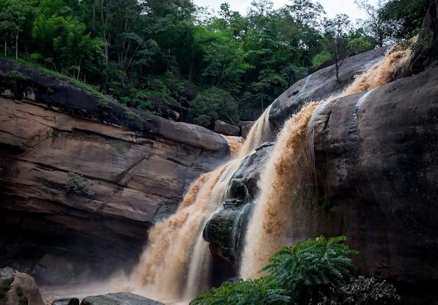 Tło górskiej rzeki z pięknymi dużymi wodospadami w tropikalnym lesie.