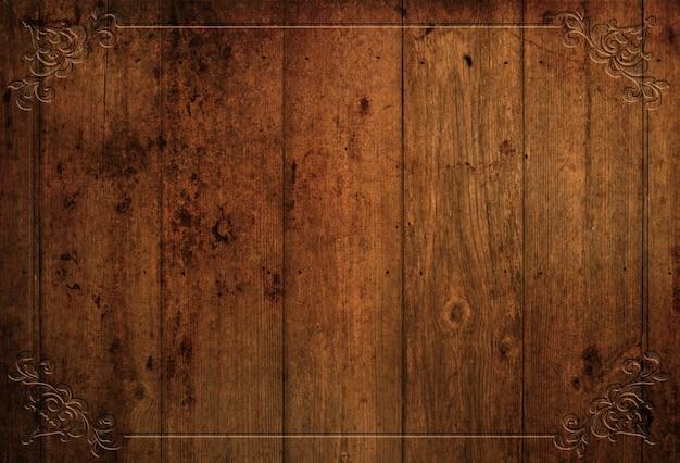 Tło grunge drewna z ozdobną obwódką