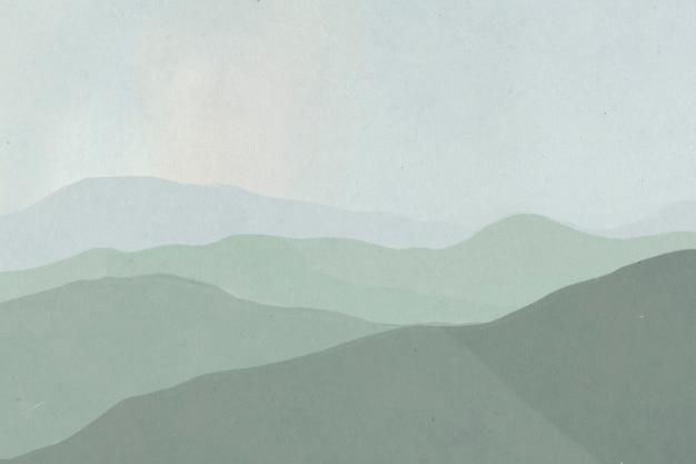 Tło ilustracji krajobrazu zielonego pasma górskiego