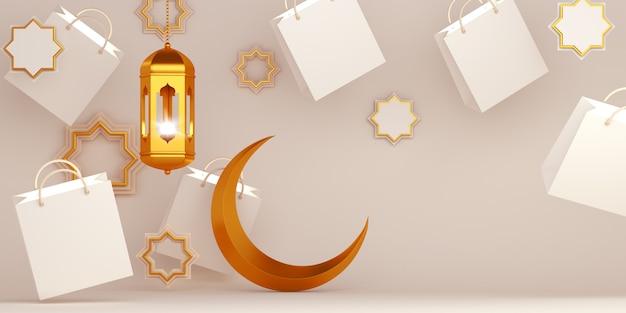 Tło islamskie z latarnią i półksiężyca w pobliżu torby na zakupy