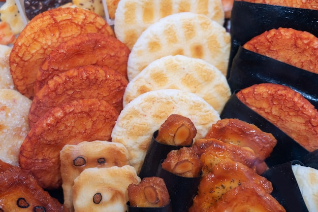 Tło japoński ryżowy krakers