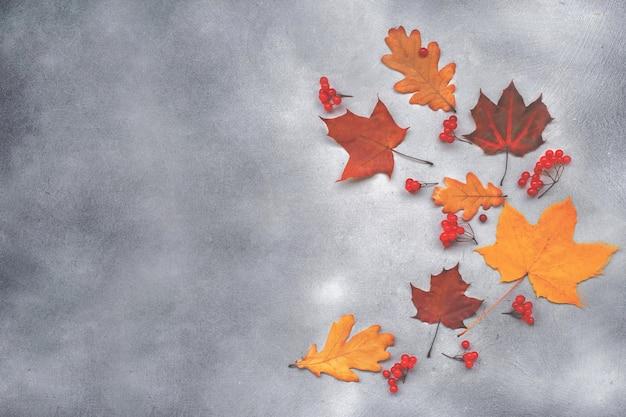 Tło jesień z liści na ciemnoszarym tle betonu.