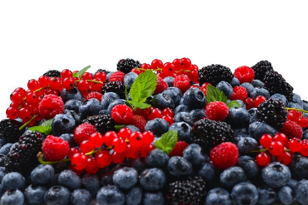 Tło jeżyna, malina, jagoda, czerwona porzeczka i mięta.