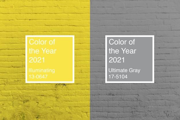 Tło kolorów roku 2021 ultimate grey i illuminating