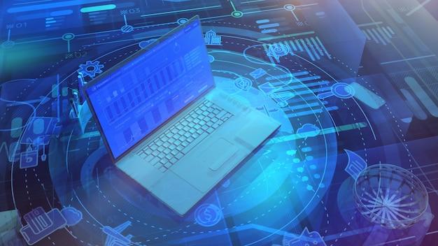 Tło korporacyjne z laptopem i infografiką na temat biznesu na całym świecie.