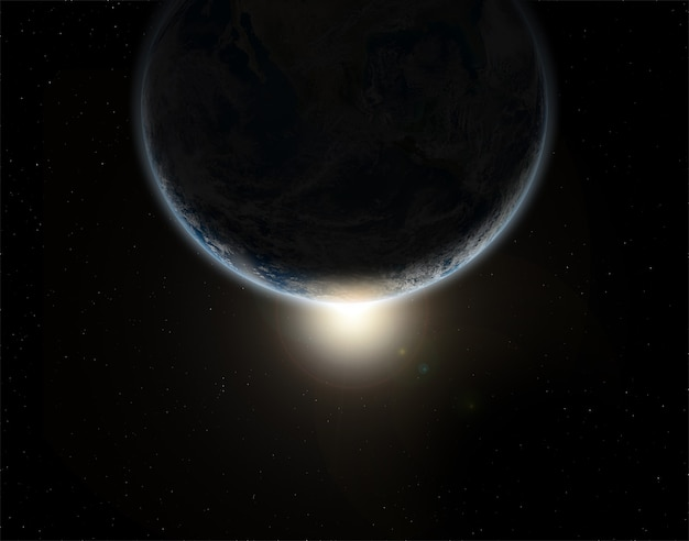 Tło kosmiczne 3d z planetą ziemią w zaćmieniu - elementy tego obrazu umeblowane
