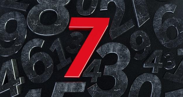 Tło liczb na czerwono 7.