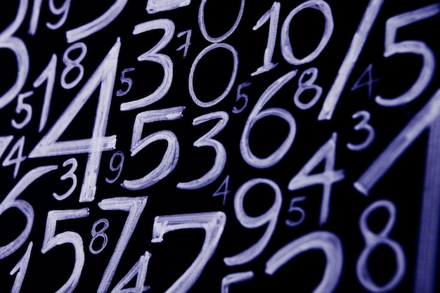 Tło liczb od zera do dziewięciu tekstury liczb pojęcie danych finansowych matematyka z liczbami pojęcie kryzysu finansowego sukces w biznesie