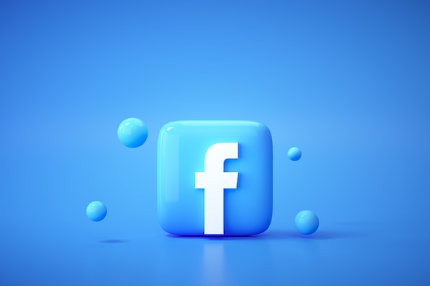 Tło logo facebook 3d. facebook to słynna platforma mediów społecznościowych.