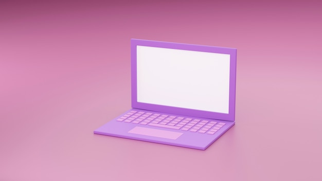 Tło makieta laptopa w nowoczesnym stylu minimalistycznym. notatnik 3d ilustracja w kolorze różowym. koncepcja gadżetu technologicznego