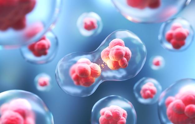 Tło mikroskopu komórek ludzkich lub embrionalnych komórek macierzystych