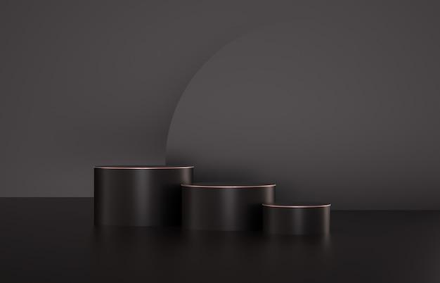 Tło mody na podium luksusowe moda na wystawie produktu. minimalistyczne czarne i złote tło. renderowania 3d.