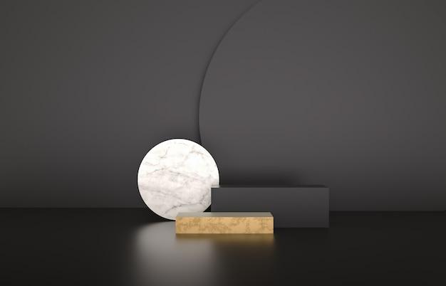 Tło mody na podium luksusowe moda na wystawie produktu. minimalistyczne czarne, marmurowe i złote tło. renderowania 3d.