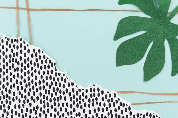 Tło natury z kolażem papieru z zielonych liści