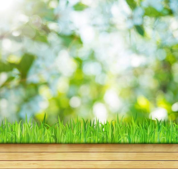 Tło natury z zieloną trawą i drewnianą podłogą