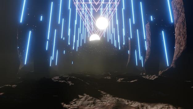Tło nocnego nieba na tapetę w scenie innowacji science fiction i technologii