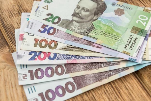 Tło nowych banknotów ukraińskie pieniądze, uah