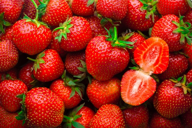 Tło od świeżych czerwonych truskawek