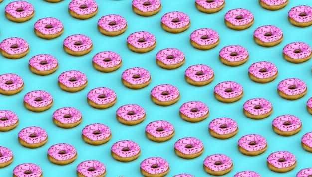 Tło pączki. niezdrowe jedzenie. ilustracja 3d. słodki.