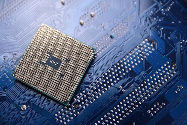 Tło płytki drukowanej. koncepcja procesora centralnego komputera. cyfrowy chip płyty głównej. ai. zbliżenie