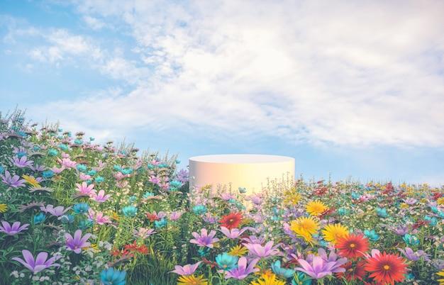 Tło podium naturalnego piękna ze sceną pola wiosennego kwiatu