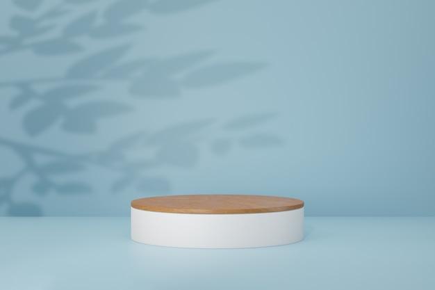 Tło podium pastelowe cylindra. drewniana biała okrągła scena w jasnoniebieskim kolorze motywu. ilustracja renderowania obrazu 3d.