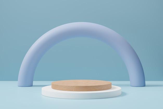 Tło podium pastelowe cylindra. drewniana biała okrągła scena z łukowym tłem w jasnoniebieskim kolorze motywu. ilustracja renderowania obrazu 3d.