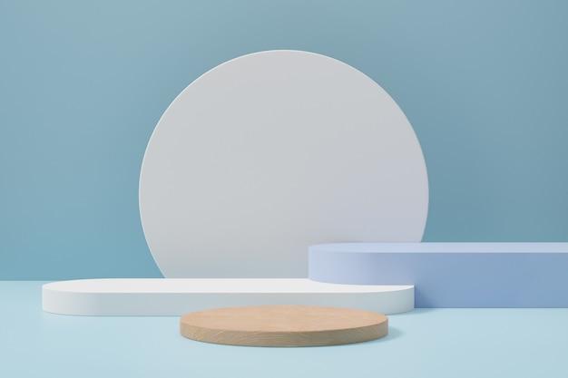Tło podium pastelowe cylindra. drewniana niebiesko-biała okrągła scena z okrągłą ścianą w jasnoniebieskim kolorze motywu. ilustracja renderowania obrazu 3d.