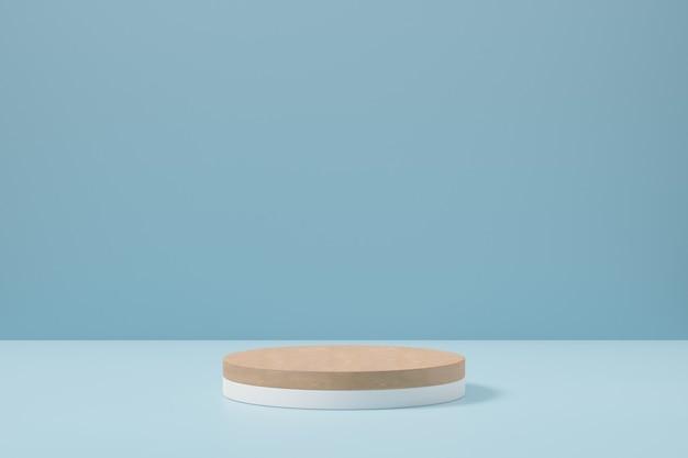 Tło podium pastelowe cylindra. niebiesko-biała okrągła scena w jasnoniebieskim kolorze motywu. ilustracja renderowania obrazu 3d.