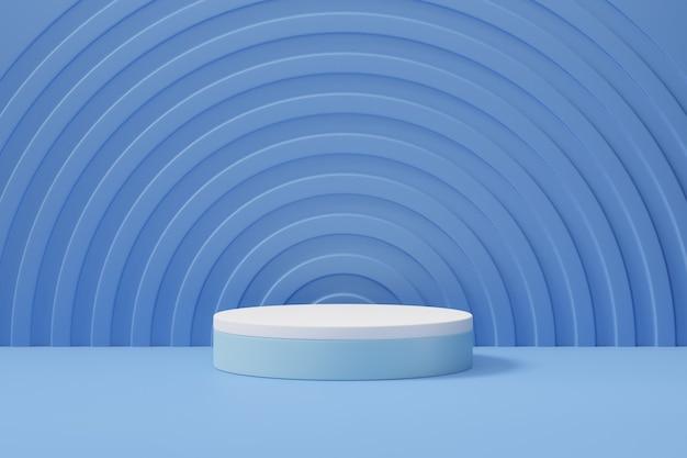 Tło podium pastelowe cylindra. niebiesko-biała okrągła scena z okrągłą ścianą w jasnoniebieskim kolorze motywu. ilustracja renderowania obrazu 3d.