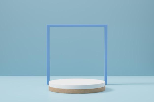 Tło podium pastelowe cylindra. niebiesko-biała okrągła scena z ramą w jasnoniebieskim kolorze motywu. ilustracja renderowania obrazu 3d.