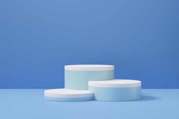 Tło podium pastelowe cylindra. trzy niebiesko-białe okrągłe sceny w jasnoniebieskim kolorze motywu. ilustracja renderowania obrazu 3d.