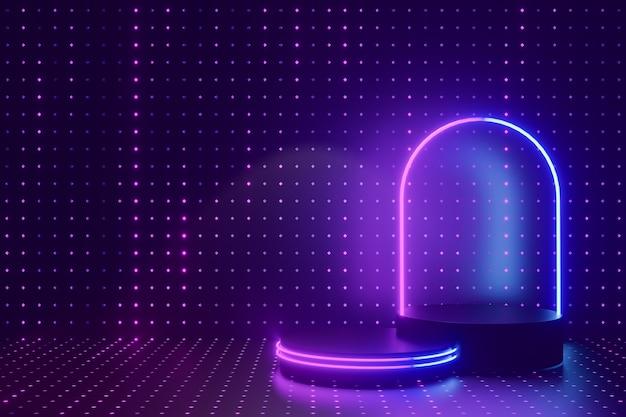 Tło produktu cyfrowego. dwucylindrowe podium ze światłem led odbija się na ciemnym niebieskim tle z efektem kropki. renderowanie ilustracji 3d.