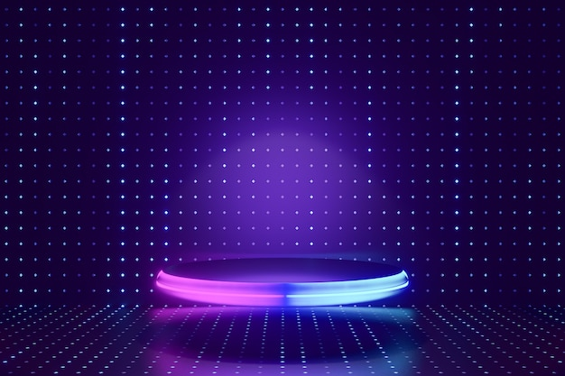 Tło produktu cyfrowego. podium ze szkła świecącego w kształcie walca ze światłem led odbija się na ciemnym niebieskim tle z efektem kropki. renderowanie ilustracji 3d.