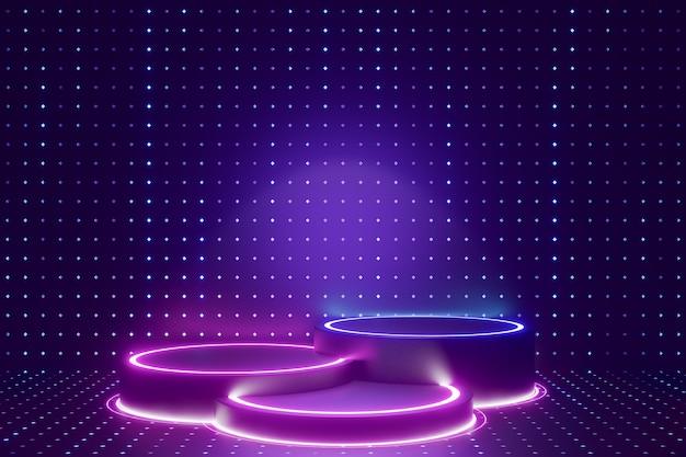 Tło produktu cyfrowego. trzy cylindrowe podium ze światłem led odbija się na ciemnym niebieskim tle z efektem kropki. renderowanie ilustracji 3d.