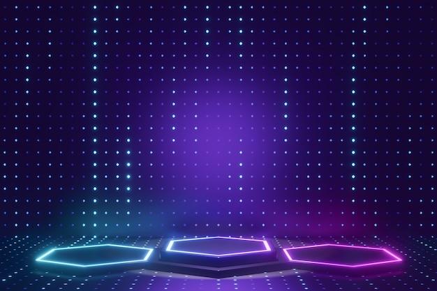 Tło produktu cyfrowego. trzy sześciokątne podium ze światłem led odbija się na ciemnym niebieskim tle z efektem kropki. renderowanie ilustracji 3d.