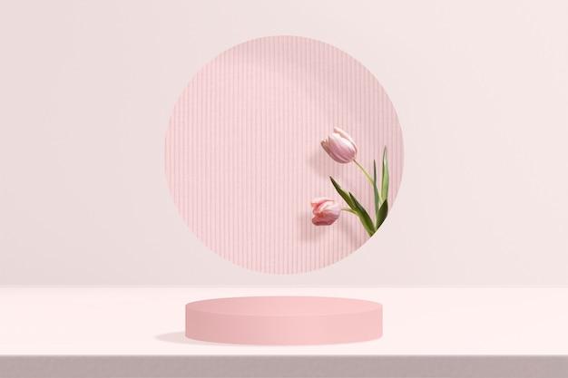 Tło produktu kwiatowego z tulipanem w kolorze różowym