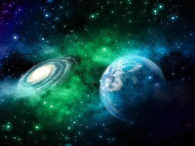 Tło przestrzeni 3d z fikcyjnych planet i mgławicy