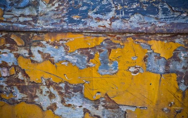 Tło rdzy metalu, rozpad stali, tekstura metalu z rysy i pęknięcia, ściana rdzy, stare tekstury rdzy żelaza żelaza