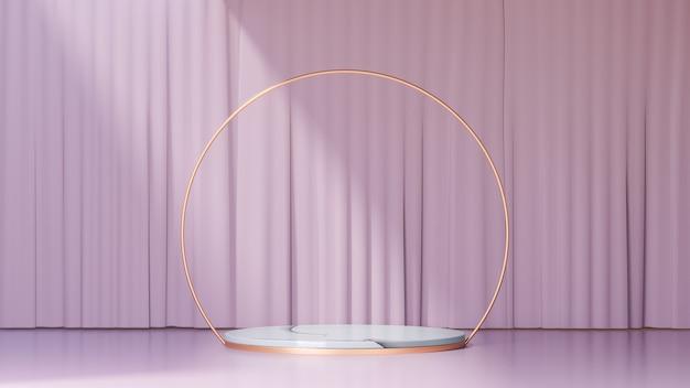 Tło renderowania 3d. marmurowe podium w kształcie cylindra z białego złota ze złotymi kółkami i jasnoróżową ścianą osłonową. obraz do prezentacji.