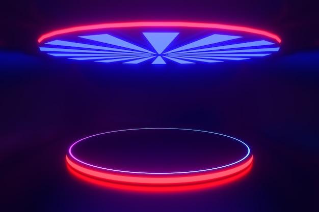 Tło renderowania 3d. okrągły niebieski różowy podium led odbijający się z górnym trójkątnym trójkątnym kształtem wentylatora na ciemnym tle. obraz do prezentacji.