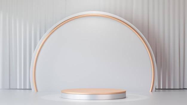 Tło renderowania 3d. produkty na podium z białego złota z białą ścianą koła i złotym pierścieniem oraz czystym tłem kurtyny. obraz do prezentacji.