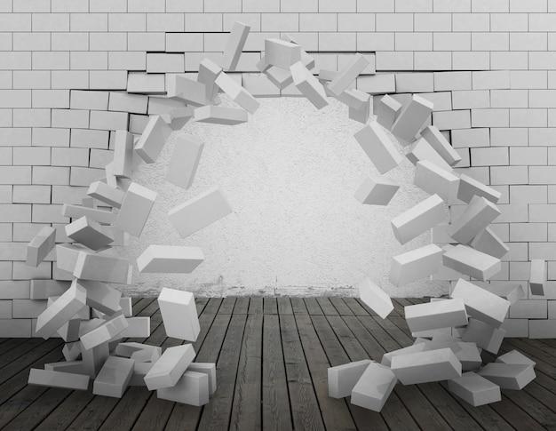 Tło ściany z cegły, przebite