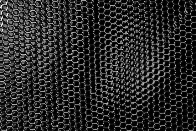 Tło siatki ciemnego metalu o strukturze plastra miodu