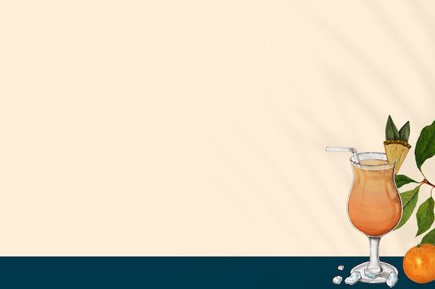 Tło soku pomarańczowego w szklanej ręcznie rysowanej ilustracji mieszanej