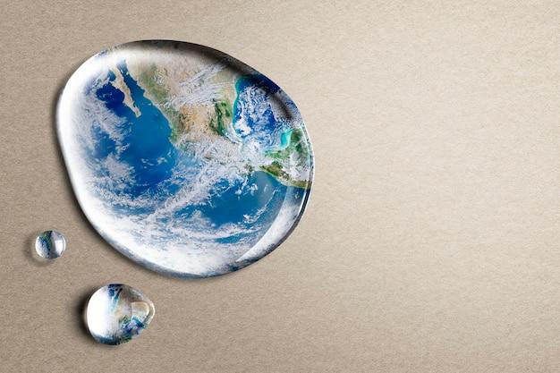 Tło środowiska, stopiona ziemia, projekt globalnego ocieplenia
