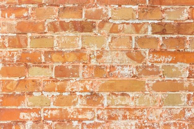 Tło stary rocznik brudny ściana z cegieł z obieranie tynkiem, tekstura